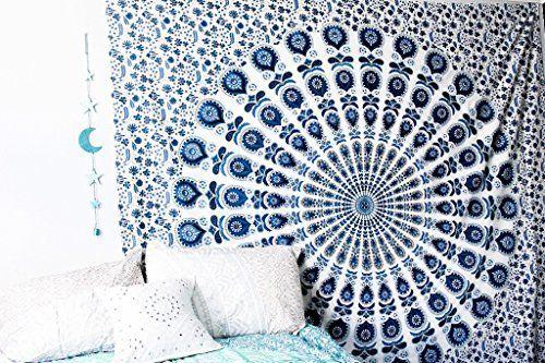 BLUE SKIES MANDALA Bohemian Tapestry Wall Hanging, Psychedelic Wall Art, Dorm Décor Beach Throw, Indian Wall Tapestries, http://www.amazon.com/dp/B01LQCIH9G/ref=cm_sw_r_pi_awdm_x_sXa0xbWF2JGM0
