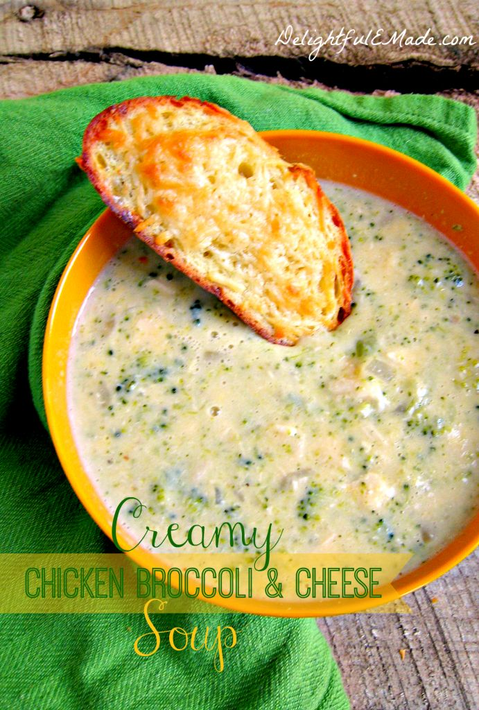 Creamy Chicken Broccoli and Cheese Soup by Delightful E Made