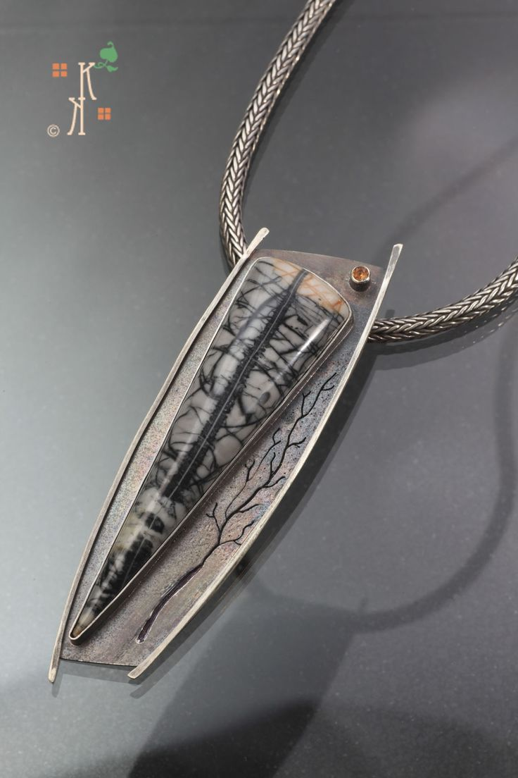 "From Kathleen Krucoff's Treescape Series, Picasso Stone set in sterling silver. The piece is titled ""Dignity & Strength"""