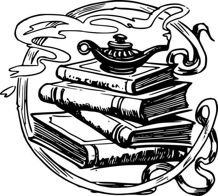 Books and a Magic Lamp by @j4p4n, I'm not sure if this is saying studying is magic, or you should study the magic arts, or that you can read all about Aladdin and his stories in books, or what this is trying to say. Rub this lamp and get a genie?!, on @openclipart