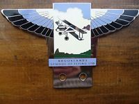 BROOKLANDS SCHOOL OF FLYING ENAMEL & CHROME BADGE MG RR RILEY AUSTIN MORRIS AC
