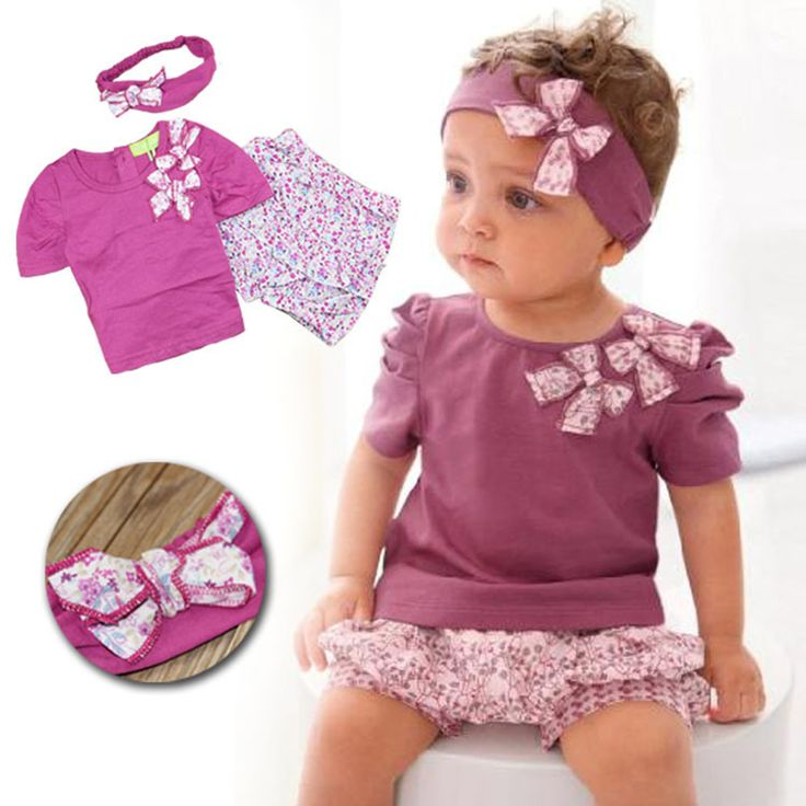 Summer Style Girls Fashion Floral Casual Suit Children Clothing Set Short Sleeve Outfit + Headband 2016 New Kids Clothes Set