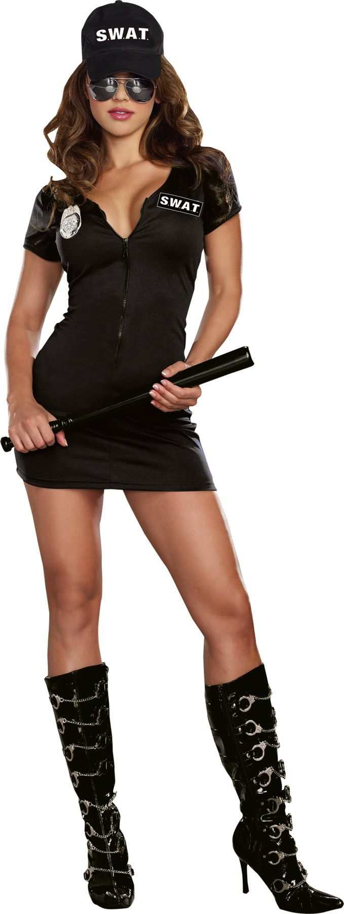 "Set your ground rules and start regulating tonight in this hot black dress with front zipper, ""S.W.A.T."" screen print, hat and police badge. 100% polyester. Fits adult women's xxxlarge sizes 18-20."