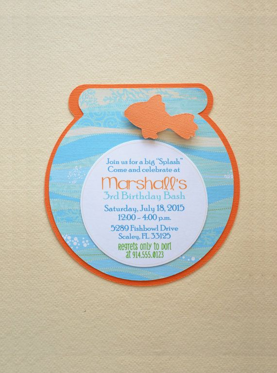 Fish Bowl Invite  Fish Invite by HootsieShop on Etsy