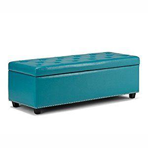 Amazon.com: Simpli Home Hamilton Rectangular Storage Ottoman Bench, Large, Mediterranean Blue: Kitchen & Dining