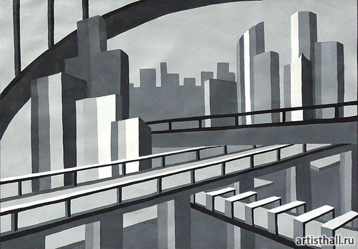 Композиция Мегаполис - черно-белый вариант #art #design #draw #композиция #графика #мегаполис #artworkshop #artisthall