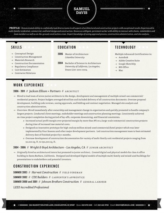 Resume a collection of Other ideas to try Columns, Examples and - junior architect resume