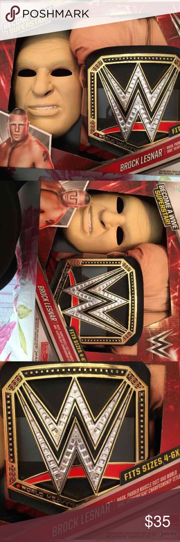 WWE Brock Lesnar Kids Costume Halloween WWE Brock Lesnar Kids Costume Includes mask, padded muscle suit & championship belt Summer slam Halloween, dress up, pretend play Costumes Halloween