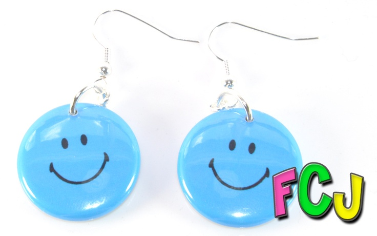 Badge Earrings - Blue Smileys!