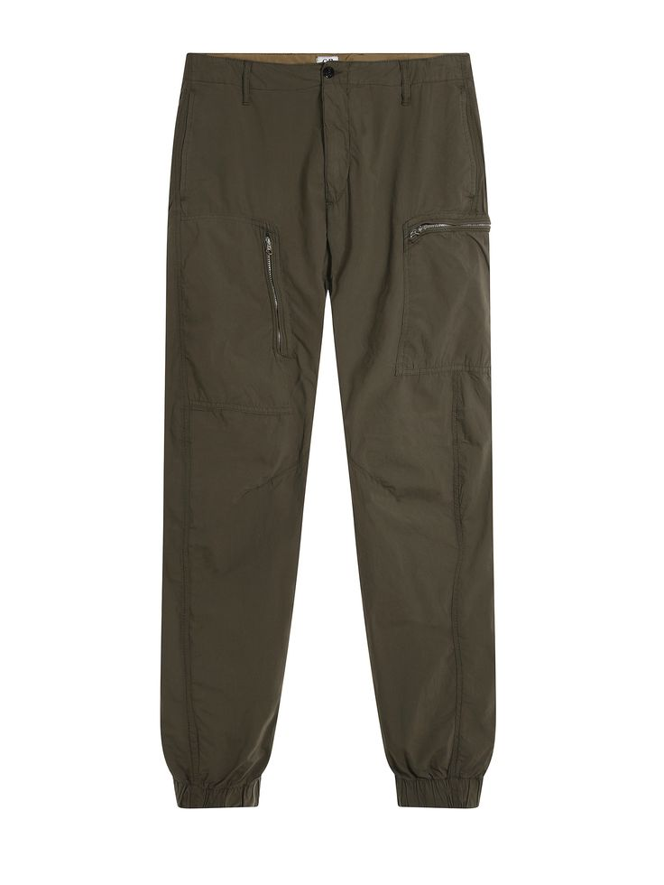 C.P. Company Ergonomic Fit Garment Dyed Tela Paracadute Multi Zip Pocket Tousers in Brown