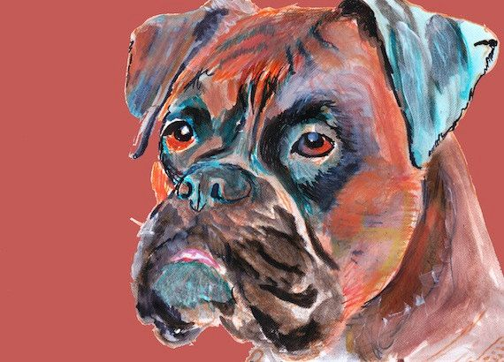 Brindle Boxer Dog painting  by OjsDogPaintings on Etsy