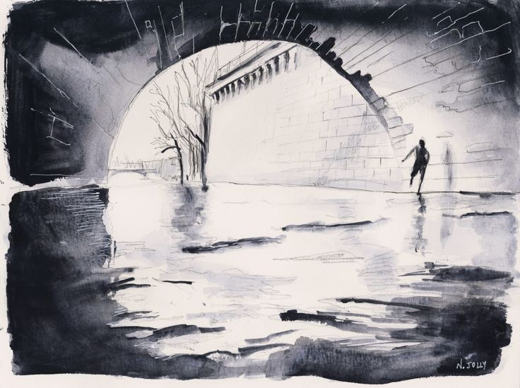 Under the bridge - Paris. Watercolor painting / Aquarelle. By Nicolas Jolly. #drawing #watercolor #painting #art