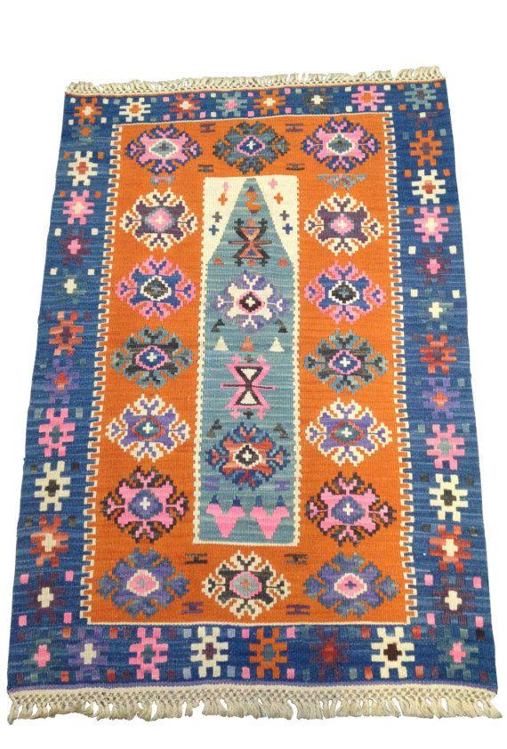 orange and blue #turkish #kilim #rug by KaravaneSerail