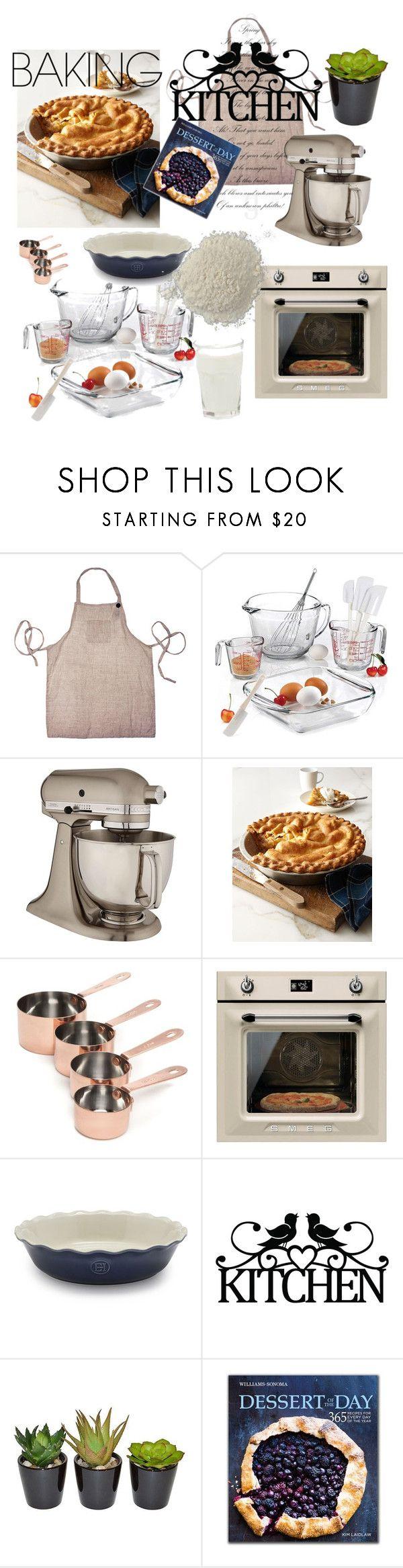 """Baking pie"" by korneliatheocharid ❤ liked on Polyvore featuring interior, interiors, interior design, home, home decor, interior decorating, Farmhouse Pottery, Anchor Hocking, KitchenAid and Sweet Lady Jane"