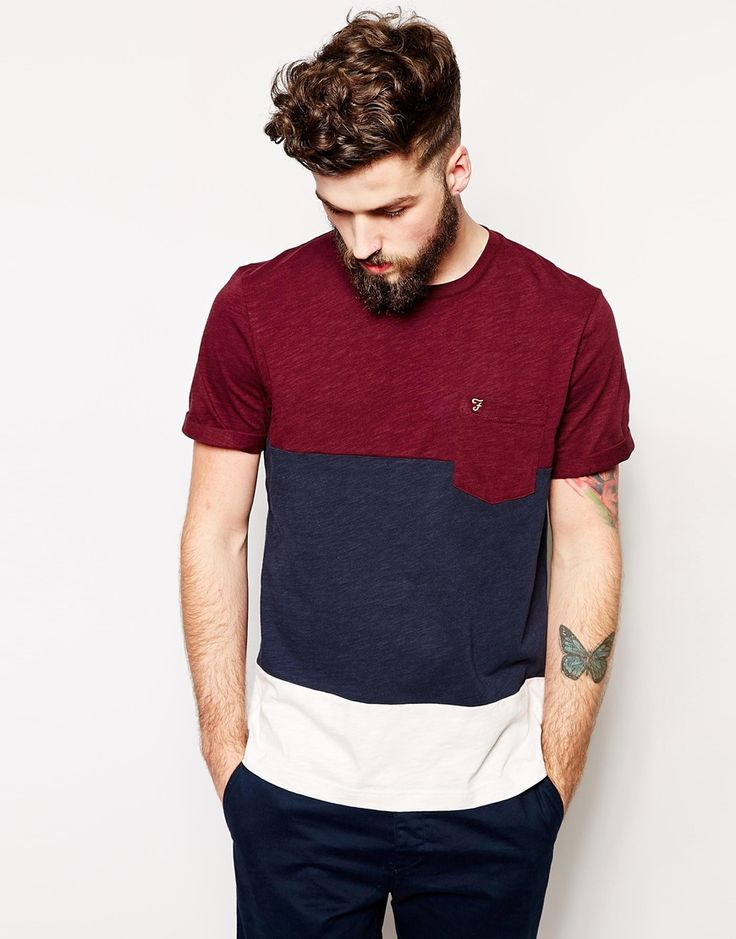 Farah T-Shirt with Colour Block in Regular Fit