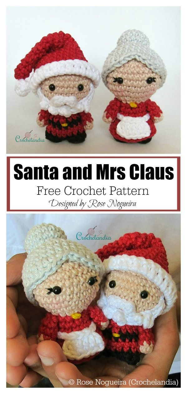 Christmas Santa and Mrs Claus Free Crochet Pattern #freecrochetpatterns #christm…  – pinterest