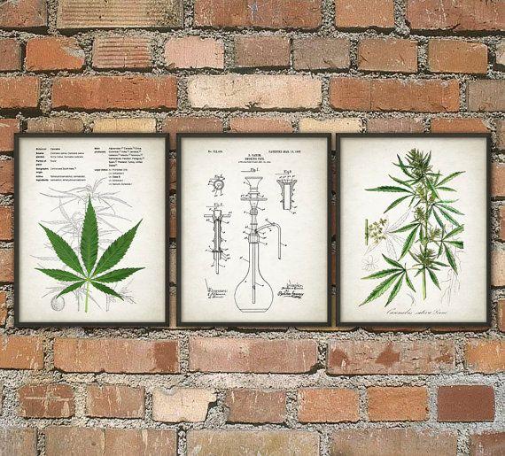 Cannabis Smoking Wall Art Print Set of 3 - Marijuana Smoking Wall Art - Pot Grass Hashish Educational Poster Set - Weed Pothead Smoker Gift