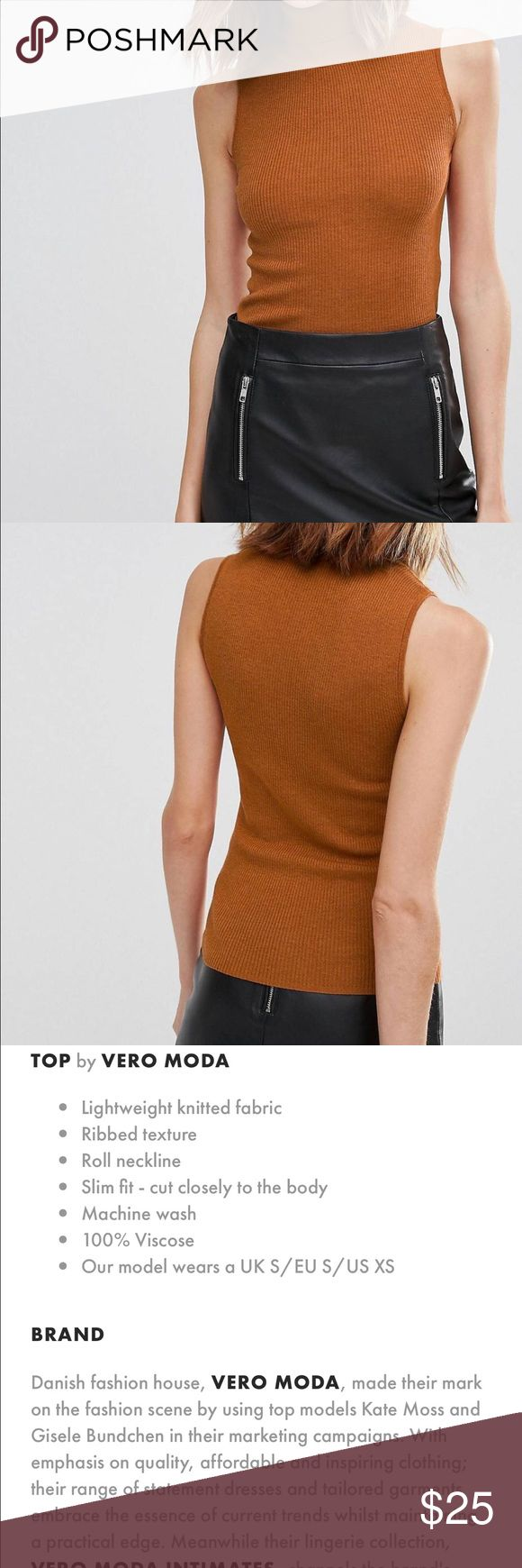 Asos roll neck tank top Worn once in perfect condition. ASOS Tops Tank Tops