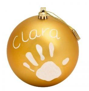 Baby Art joulupallo, kulta. Tee vauvan jalan tai käden jälki joulupalloon ja anna lahjaksi esimerkiksi isovanhemmalle tai kummille.