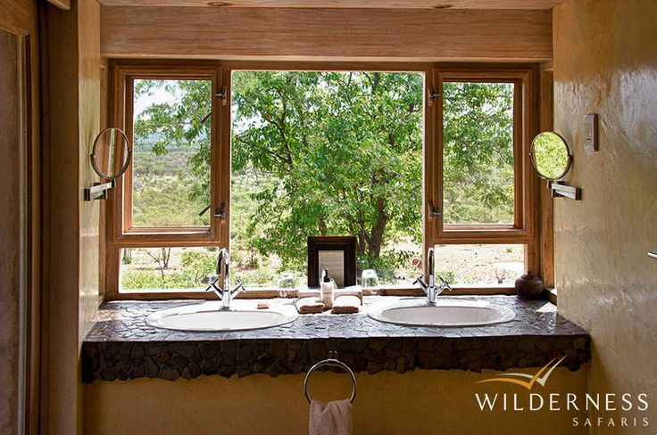 Ongava Lodge – All of the rooms have en-suite bathrooms, air-conditioning and glass-fronted doors leading onto a private veranda. #Africa #Safari #Namibia