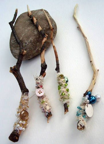 """I love these! Fairy Wands with sticks, beads & scraps of fabric ("""",)"""