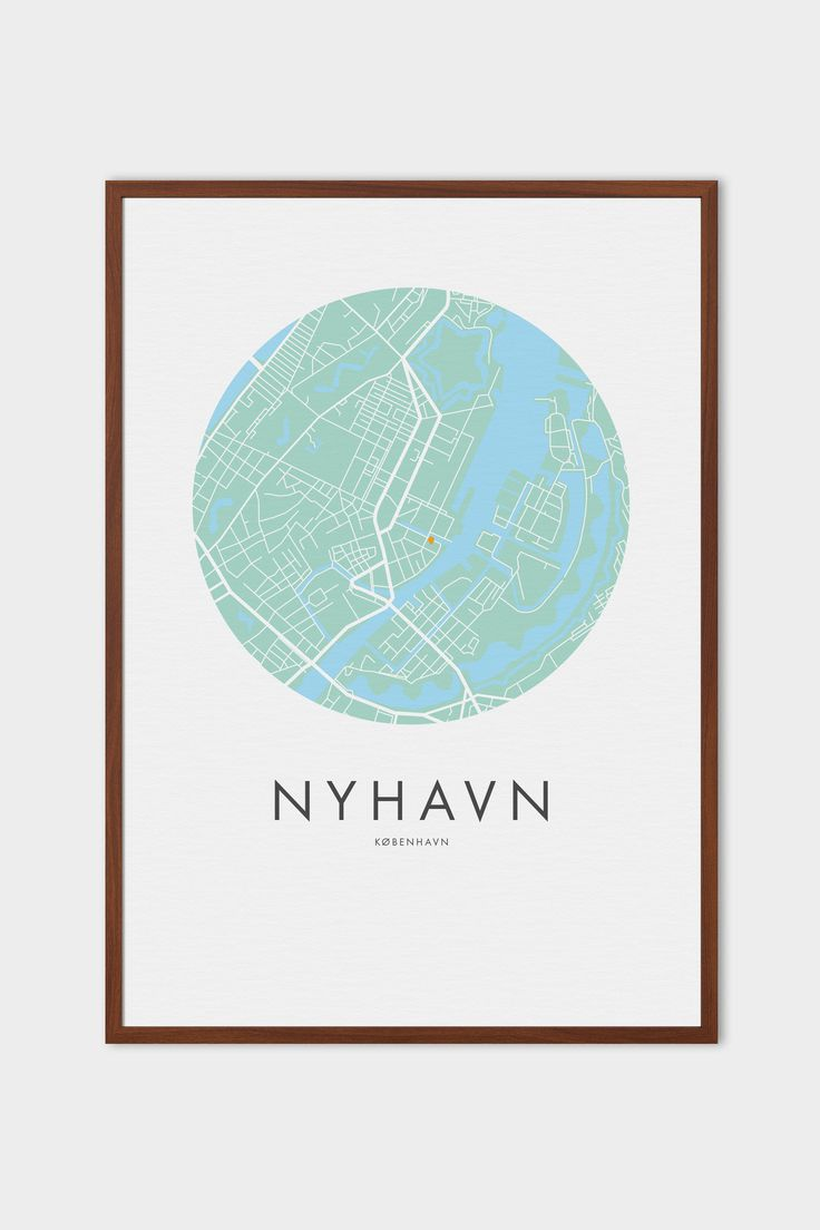 Circular map of Copenhagen City centre with customisable name and pinpoint. Choose which part of the city to place the pin and what word to place under the map.  Perfect as a gift or as a memory of an address you once lived at. Map colours can also be changed, but our favourite is this map in mint green and baby blue displayed in a dark brown frame.  Handritad affisch av  Köpenhamn.