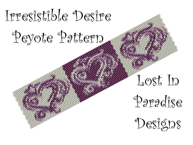 Peyote Bracelet Pattern - Irresistible Desire Peyote Stitch Pattern (Buy 2 get one Free). $6.50, via Etsy.