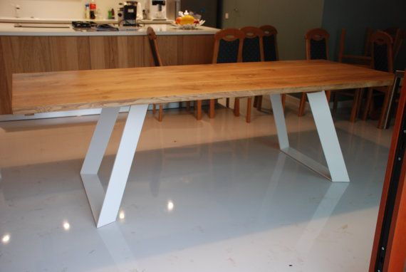 A hand made to order table. Solid wood table top on steel base. Natural hard wax oil finish while base can be powder coated on every RAL colour. A table presented on the photos is 260cm long while 100cm wide. If you have any questions, please ask.