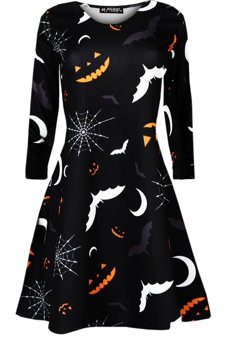 Oops Outlet Women's Halloween Scary Bat Pumpkin Spider Smock Skater Swing Dress at Amazon Women's Clothing store: | @giftryapp