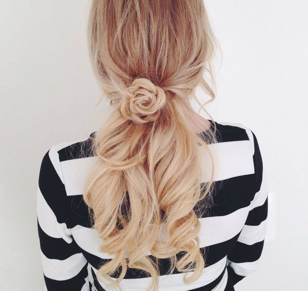 Try This Flower Braid & Low Ponytail