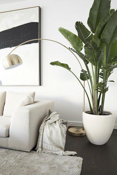"""Mandy Capristos Lieblingsort: die Loungeecke im Wohnzimmer mit moderner Kunst und Strelitzienbaum, """"weil ich dort auf der großzügigen Couch oder barfuß auf dem flauschigen Shaggy-Teppich die nötige Muße für meine Songs finde.""""// Wohnzimmer Sofa Pflanzen Teppich Bild Beige Einrichten Mandy Capristo Ideen Deko #Wohnzimmer #Wohnzimmerideen #Sofa #Pflanzen #Teppich #Bild #Einrichten #MandyCapristo #Homestory"""
