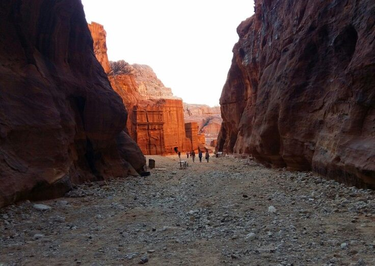 Petra site. The path to ancient theater.