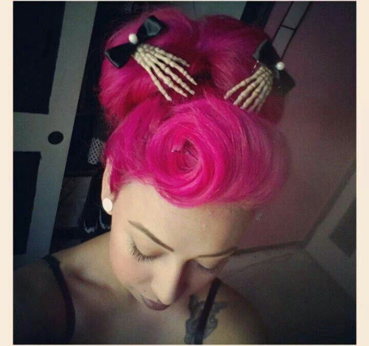 Hot pink hair with skeleton hand barrettes #pinup #rockabilly #gothabilly #Psychobilly #victoryrolls   Hair: 40s & 50s   Pinterest   Hair, Hair styles and Pin …