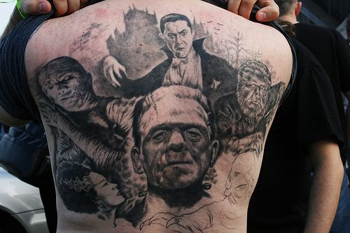 Back tattoo featuring an amazing collage of the Classic Universal Monsters.