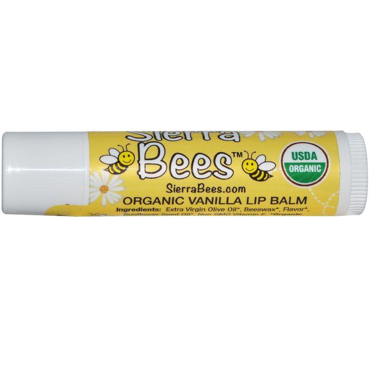 Sierra Bees, Organic Vanilla Beeswax Lip Balm with Vitamin E, .15 oz (4.25 g) - iHerb.com