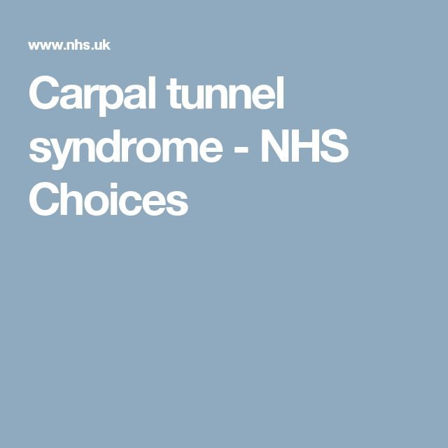 Carpal tunnel syndrome - NHS Choices