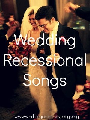 Recessional songs are songs played after the wedding ceremony is over and the bride, groom and bridal party make their exit from the ceremony. Only one song is usually played during the recessional, since it is a brief moment in the ceremony. #weddingmusic