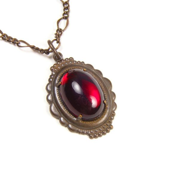 Ruby Red Pendant Necklace, Downton Abbey Edwardian Style Red Pendant, Vintage Glass Cabochon