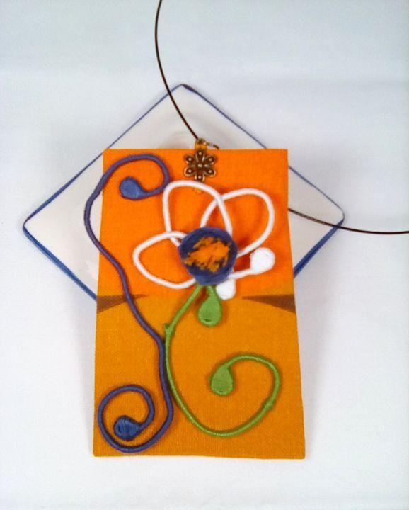 Colier textil Flower in The Orange Garden