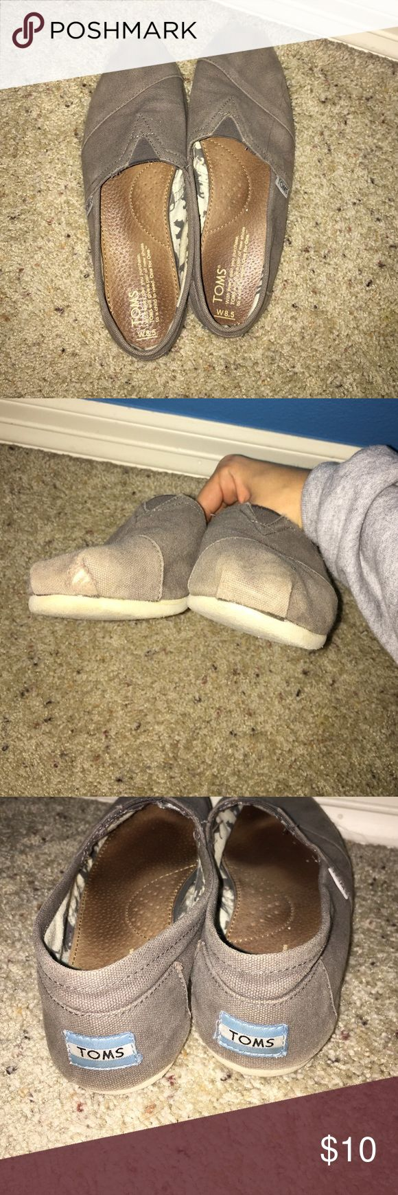 Gray Toms Pretty good condition with a little hole. Comfy for everyday use. TOMS Shoes
