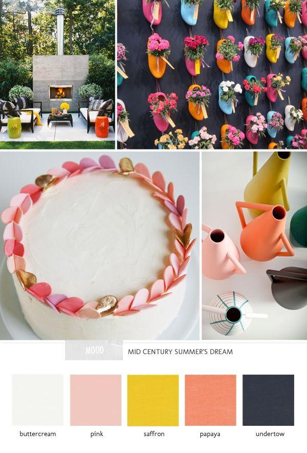 Mid-century inspiration // buttercream, pink, saffron, papaya and undertow