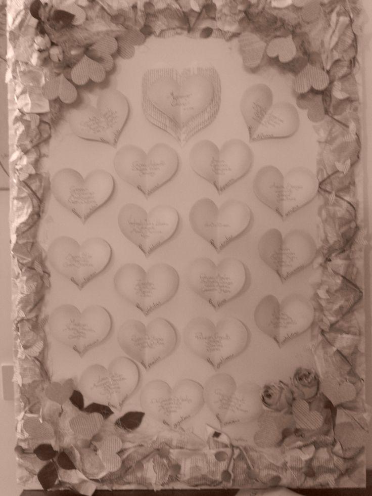 Tableau realizzato con pagine di un libro, rose glicine e tanta carta! by me