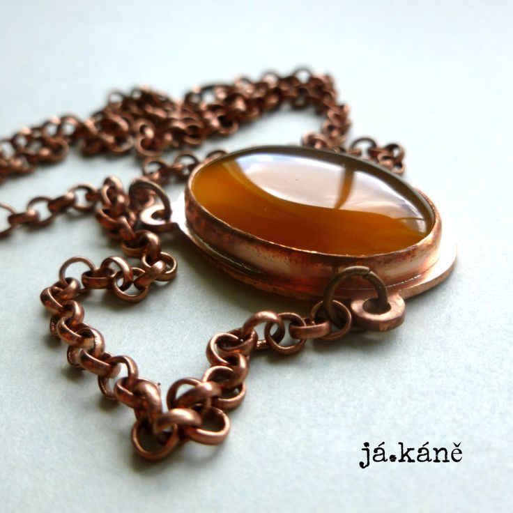 agate copper necklace, copper pendant, by jakanestudio on Etsy