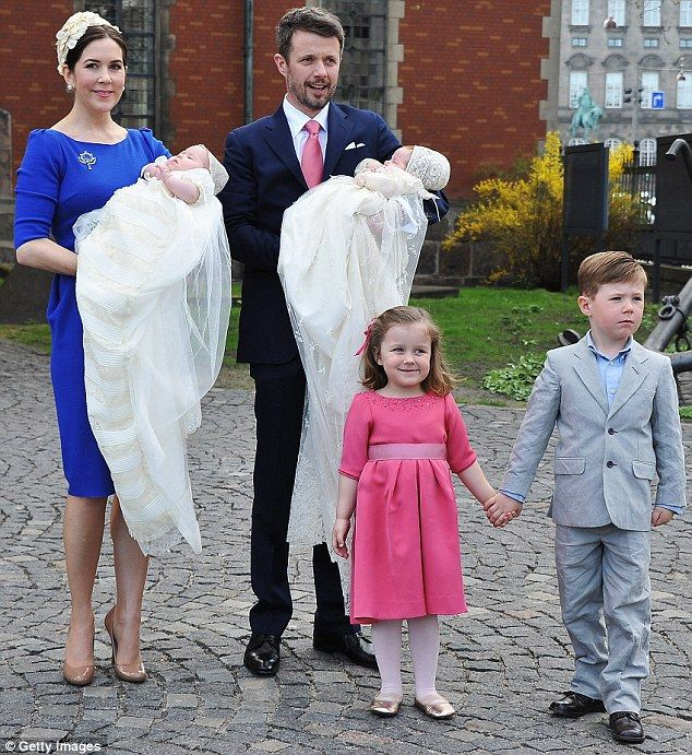 Crown Prince Frederik and Crown Princess Mary of Denmark with their children: twins Vincent & Josephine (b. Jan 2011), and older children princess Isabella (b. 2007) and Prince Christian (b. 2005)