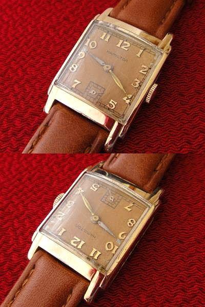稀少★40's HAMILTON ハミルトン USA製 14金張ゴールドケース 手巻アンティーク腕時計 スモセコ角型デコ 未使用品レザーバンド付 ブラウン_画像2