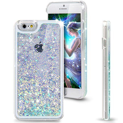 "iPhone 6 Case, NSSTAR iPhone 6 Case 4.7"" (2014 Version),Liquid Case for iPhone 6,Case for iPhone 6,Hard Case for iPhone 6, Fashion Creative Design Flowing Liquid Floating Luxury Bling Glitter Sparkle Love Heart Hard Case for Apple iPhone 6 with 4.7 in..."