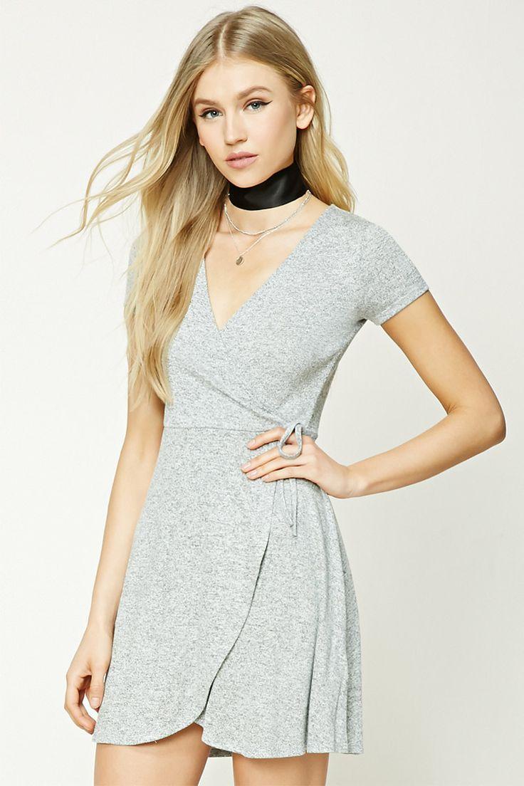 Marled Knit Faux Wrap Dress