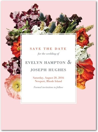 Boundless Blossoms - Signature White Save the Date Cards in Boysenberry or Blush | BHLDN