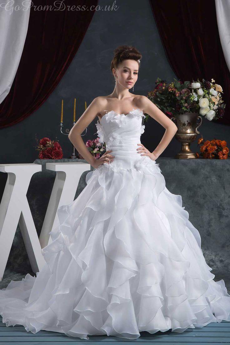 Ball Gown Chiffon Sweetheart Natural Waist Chapel Train Zipper Liques Ruching Ruffles White Wedding Dress