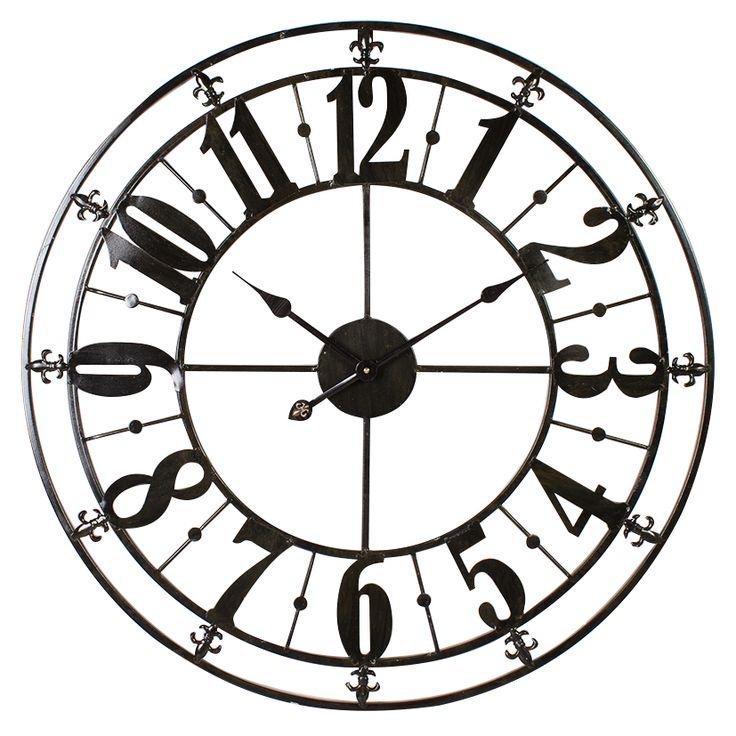 Clocks :: Indoor Wall Clocks :: French Provincial :: Distressed Metal Wall Decor Clock Black Gloss -